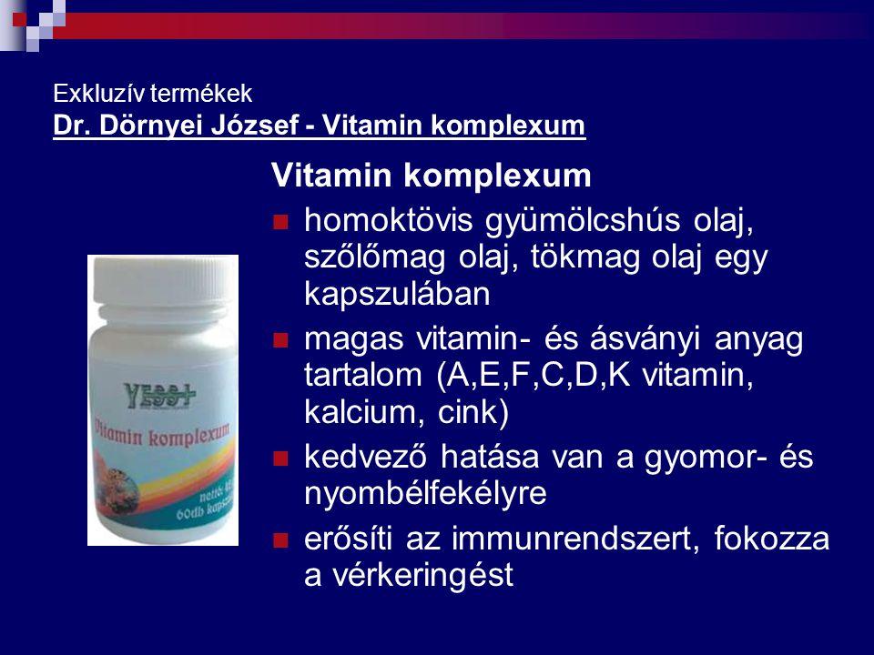 Exkluzív termékek Dr. Dörnyei József - Vitamin komplexum Vitamin komplexum homoktövis gyümölcshús olaj, szőlőmag olaj, tökmag olaj egy kapszulában mag