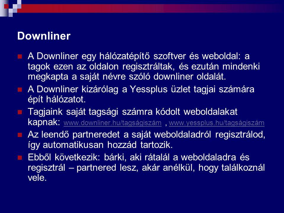 Downliner A Downliner egy hálózatépítő szoftver és weboldal: a tagok ezen az oldalon regisztráltak, és ezután mindenki megkapta a saját névre szóló do