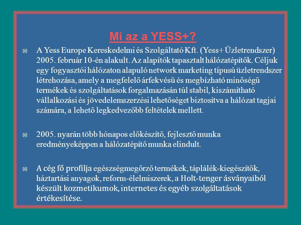 Mi az a YESS+?  A Yess Europe Kereskedelmi és Szolgáltató Kft. (Yess+ Üzletrendszer) 2005. február 10-én alakult. Az alapítók tapasztalt hálózatépítő
