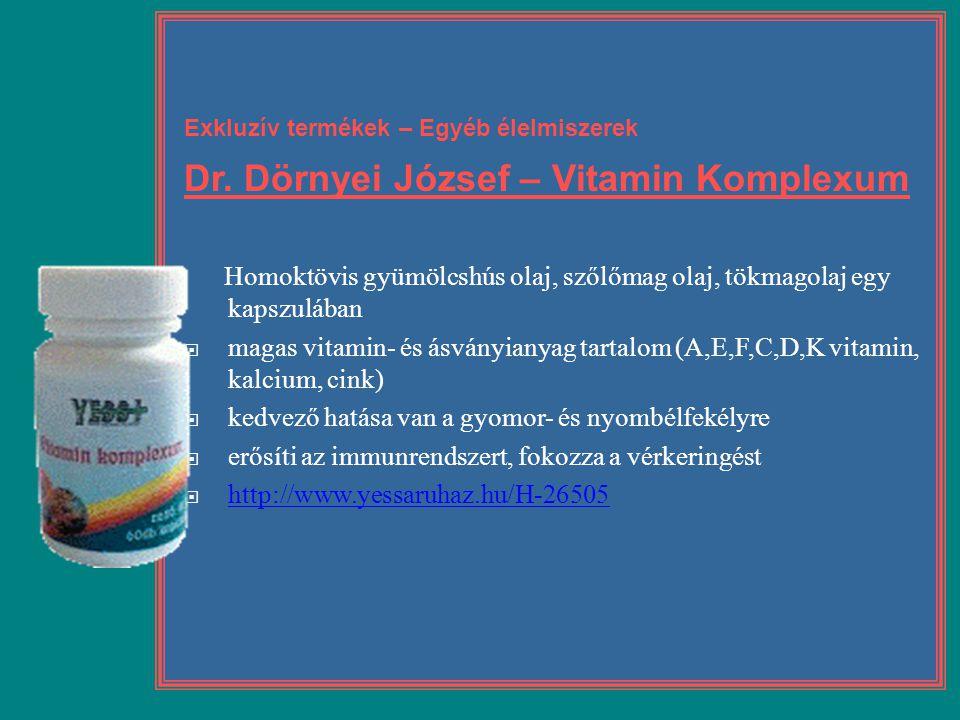 Exkluzív termékek – Egyéb élelmiszerek Dr. Dörnyei József – Vitamin Komplexum Homoktövis gyümölcshús olaj, szőlőmag olaj, tökmagolaj egy kapszulában 