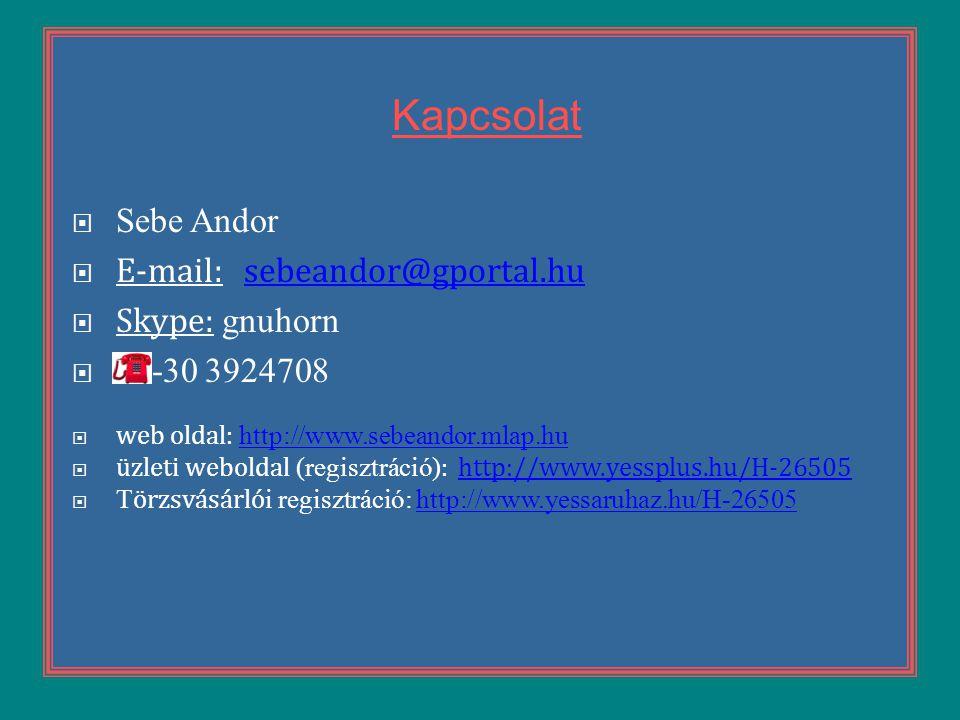 Kapcsolat  Sebe Andor  E-mail: sebeandor@gportal.husebeandor@gportal.hu  Skype: gnuhorn  06-30 3924708  web oldal: http://www.sebeandor.mlap.hu h