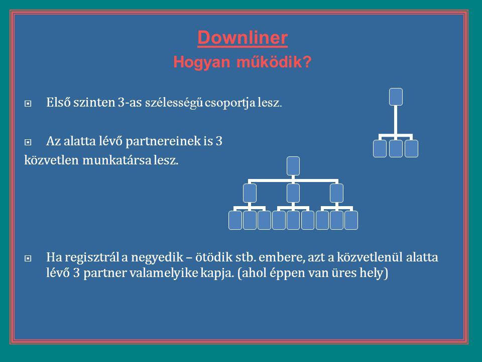 Downliner Hogyan működik?  Első szinten 3-as szélességű csoportja lesz.  Az alatta lévő partnereinek is 3 közvetlen munkatársa lesz.  Ha regisztrál