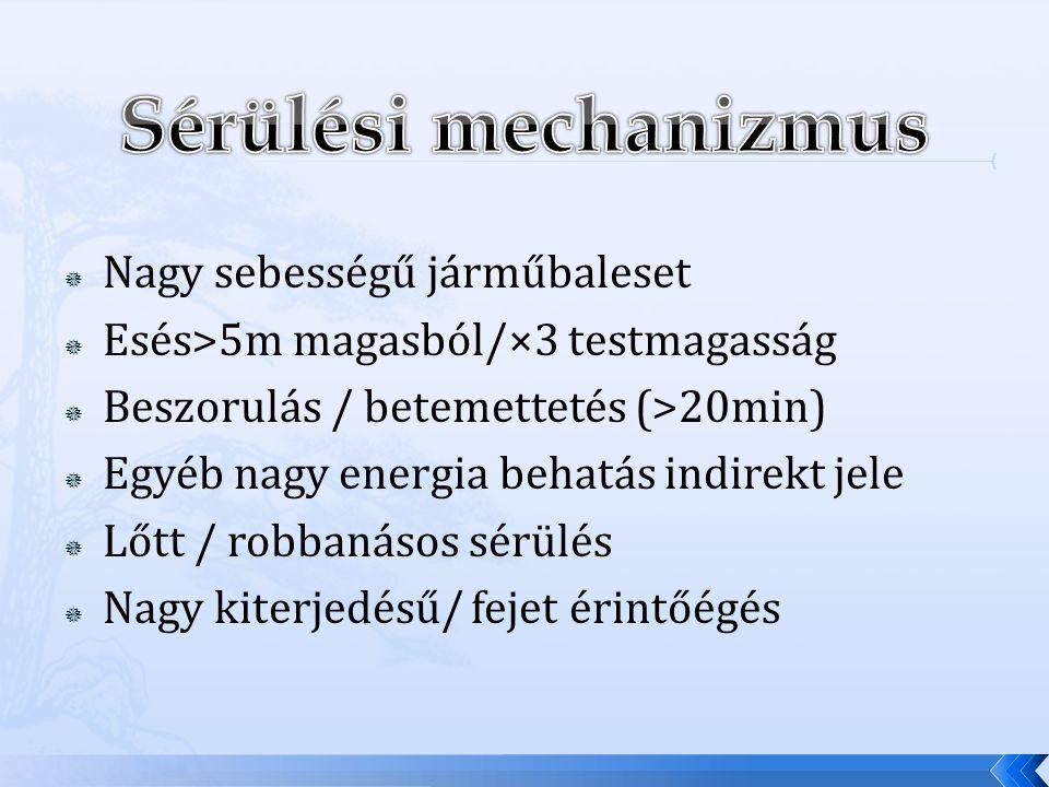  Nagy sebességű járműbaleset  Esés>5m magasból/×3 testmagasság  Beszorulás / betemettetés (>20min)  Egyéb nagy energia behatás indirekt jele  Lőt