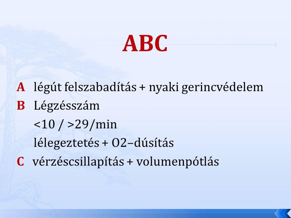 ABC A légút felszabadítás + nyaki gerincvédelem B Légzésszám 29/min lélegeztetés + O2–dúsítás C vérzéscsillapítás + volumenpótlás
