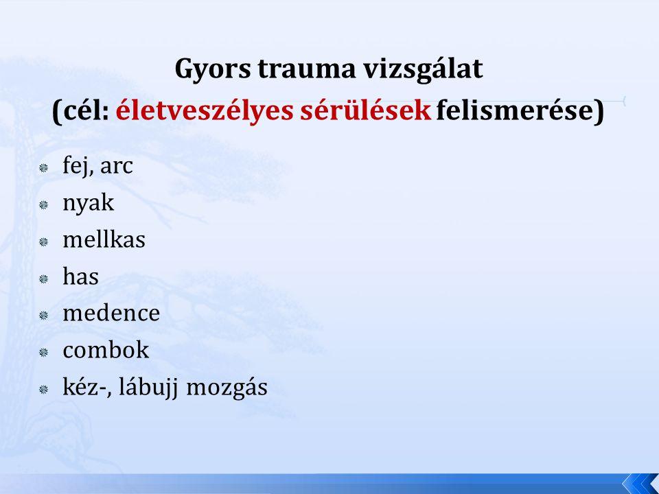 Gyors trauma vizsgálat (cél: életveszélyes sérülések felismerése)  fej, arc  nyak  mellkas  has  medence  combok  kéz-, lábujj mozgás