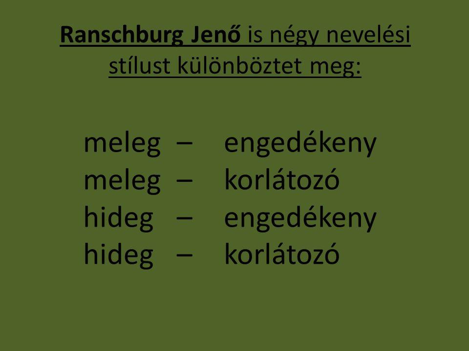Ranschburg Jenő is négy nevelési stílust különböztet meg: meleg –engedékeny meleg –korlátozó hideg –engedékeny hideg –korlátozó