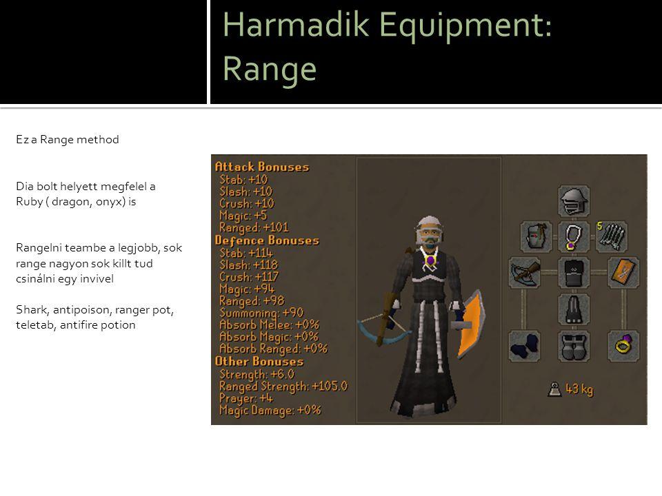 Második Equipment: Melee strenght Ezt az Equipmentet valamivel naygobb szintűeknek ajánlom o Ugyan azt vidd mint az előbb csak nem kell prayer pot ( Ha super antifiret használsz figyelj rá, hogy ne járjon le és vihetsz GodSwordot)