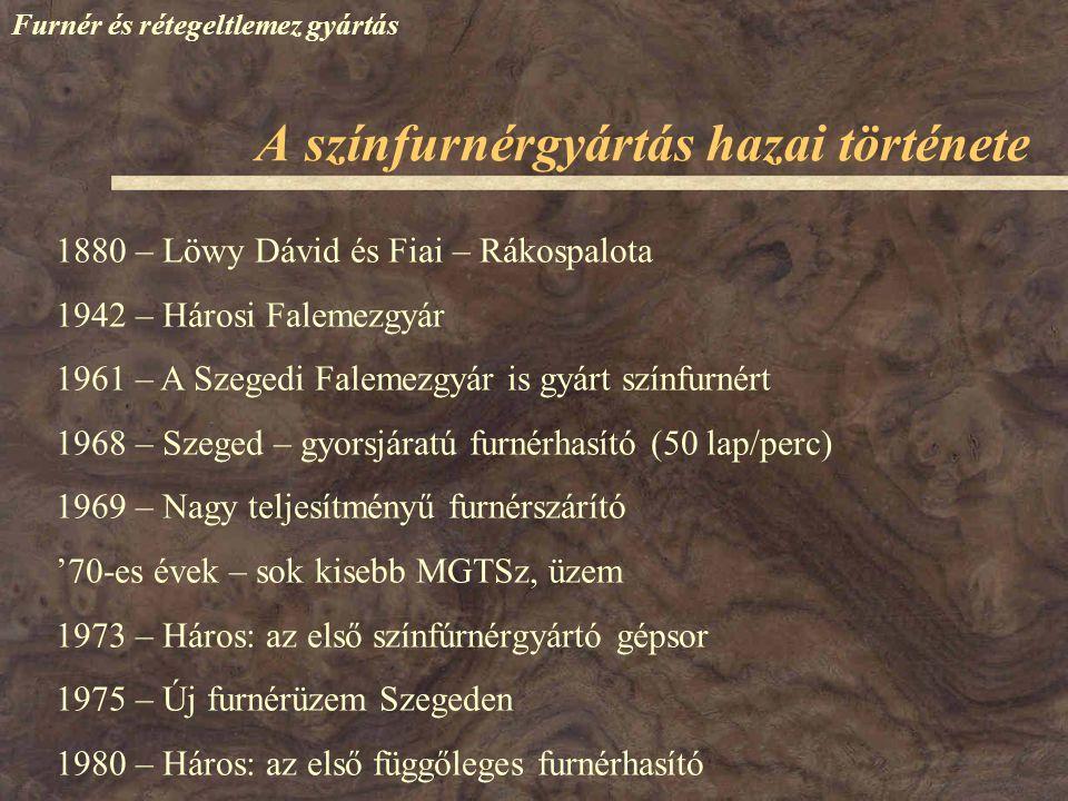 Furnér és rétegeltlemez gyártás 1880 – Löwy Dávid és Fiai – Rákospalota 1942 – Hárosi Falemezgyár 1961 – A Szegedi Falemezgyár is gyárt színfurnért 19