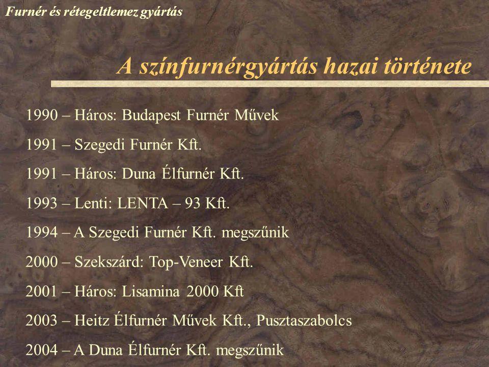 Furnér és rétegeltlemez gyártás 1990 – Háros: Budapest Furnér Művek 1991 – Szegedi Furnér Kft. 1991 – Háros: Duna Élfurnér Kft. 1993 – Lenti: LENTA –