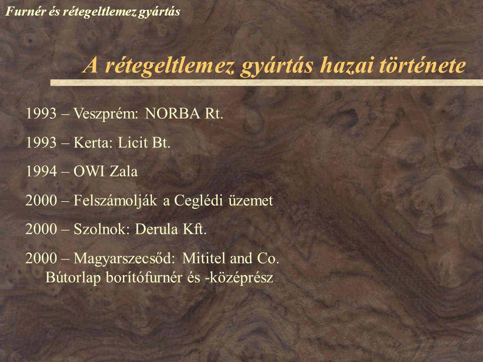 Furnér és rétegeltlemez gyártás 1993 – Veszprém: NORBA Rt. 1993 – Kerta: Licit Bt. 1994 – OWI Zala 2000 – Felszámolják a Ceglédi üzemet 2000 – Szolnok