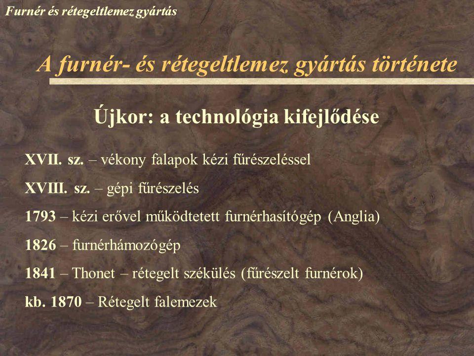 Újkor: a technológia kifejlődése XVII. sz. – vékony falapok kézi fűrészeléssel XVIII. sz. – gépi fűrészelés 1793 – kézi erővel működtetett furnérhasít