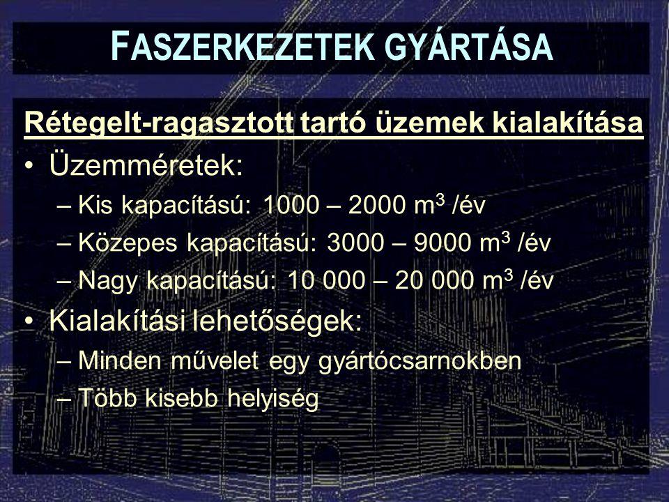F ASZERKEZETEK GYÁRTÁSA Rétegelt-ragasztott tartó üzemek kialakítása Üzemméretek: –Kis kapacítású: 1000 – 2000 m 3 /év –Közepes kapacítású: 3000 – 9000 m 3 /év –Nagy kapacítású: 10 000 – 20 000 m 3 /év Kialakítási lehetőségek: –Minden művelet egy gyártócsarnokben –Több kisebb helyiség