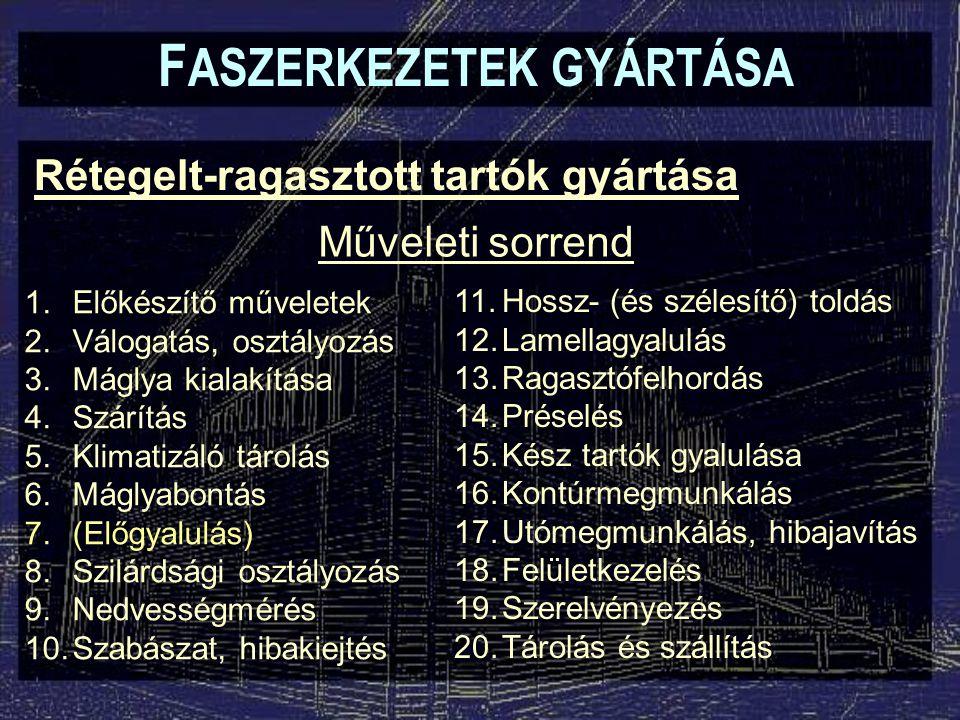 F ASZERKEZETEK GYÁRTÁSA Rétegelt-ragasztott tartók gyártása 10.