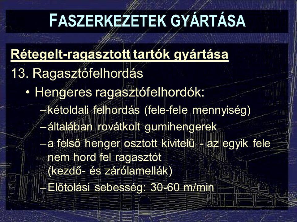 Rétegelt-ragasztott tartók gyártása 13. Ragasztófelhordás Hengeres ragasztófelhordók: –kétoldali felhordás (fele-fele mennyiség) –általában rovátkolt