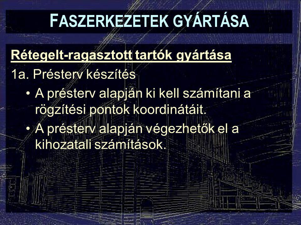 F ASZERKEZETEK GYÁRTÁSA Rétegelt-ragasztott tartó üzemek kialakítása Külön helyiségek: –Egyes műveleti csoportok elkülöníthetők (pl.