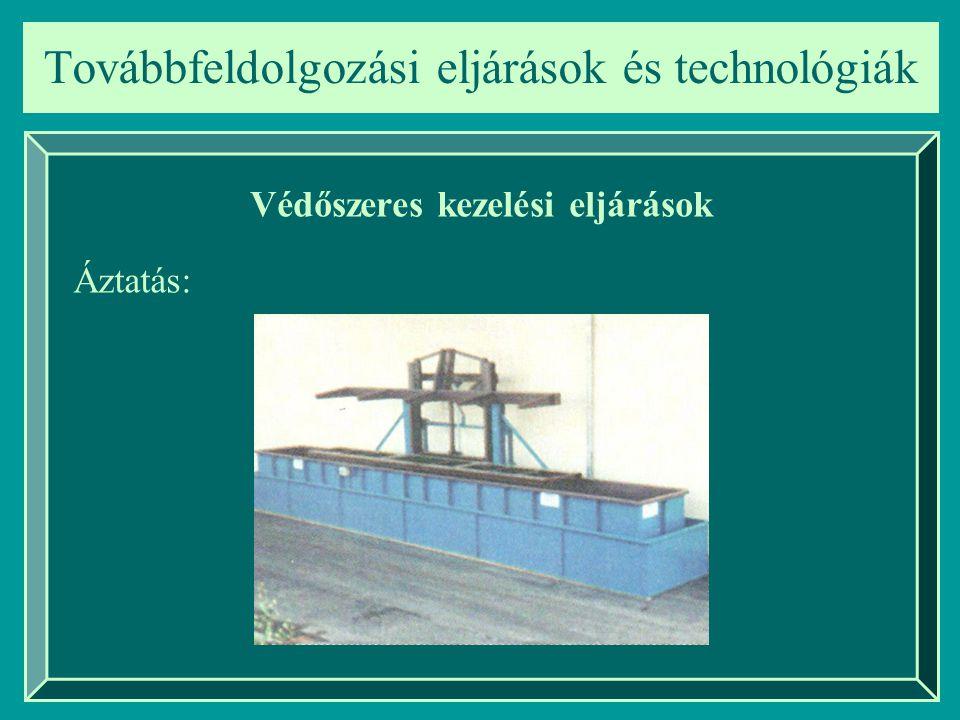Továbbfeldolgozási eljárások és technológiák Védőszeres kezelési eljárások Áztatás: