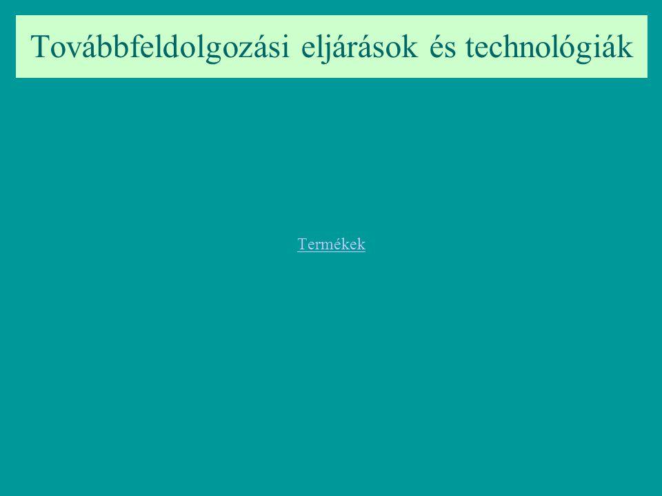 Továbbfeldolgozási eljárások és technológiák Termékek