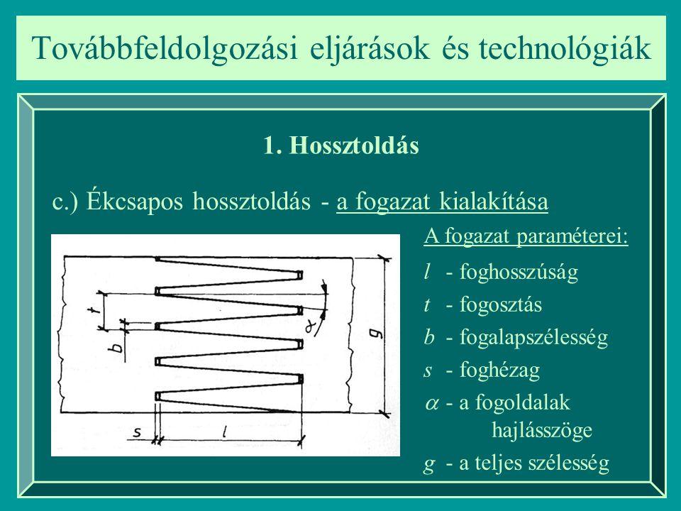 Továbbfeldolgozási eljárások és technológiák 1. Hossztoldás c.) Ékcsapos hossztoldás - a fogazat kialakítása l - foghosszúság t - fogosztás b- fogalap