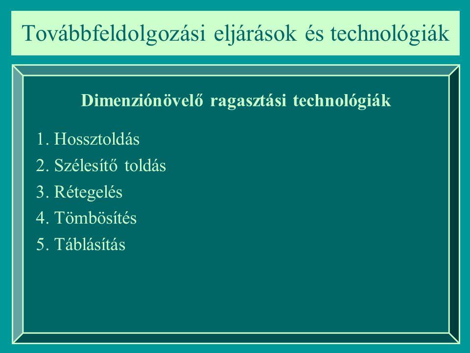 Továbbfeldolgozási eljárások és technológiák Dimenziónövelő ragasztási technológiák 1. Hossztoldás 2. Szélesítő toldás 3. Rétegelés 4. Tömbösítés 5. T