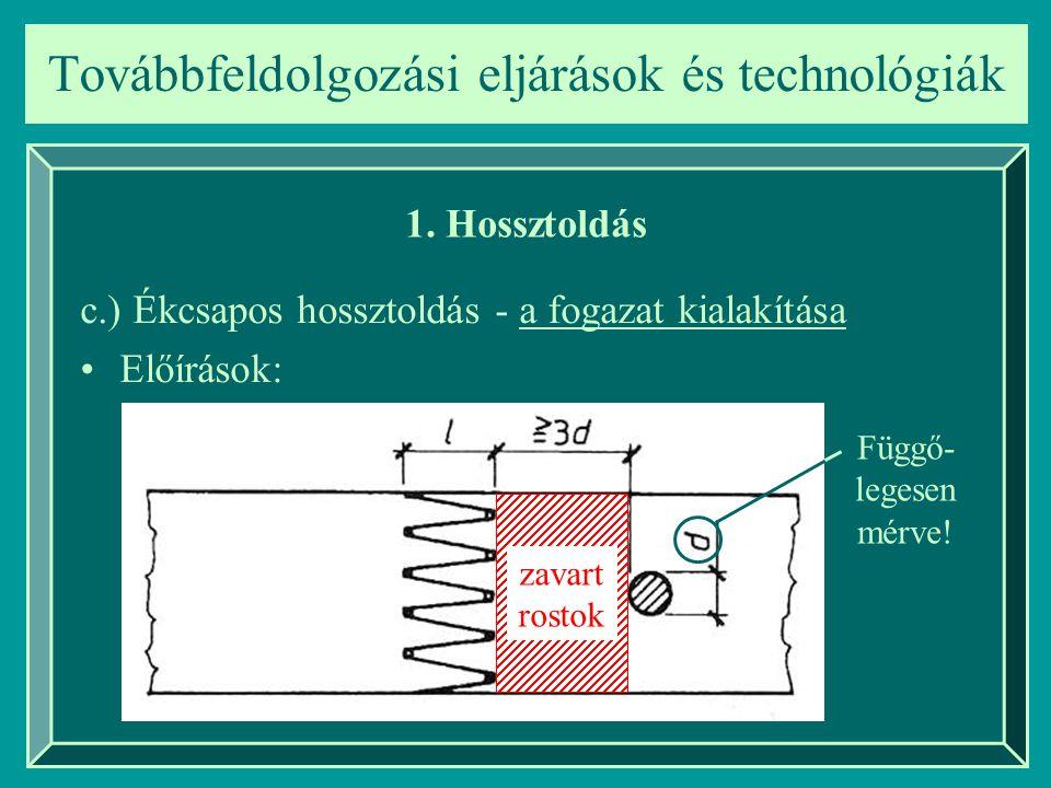 Továbbfeldolgozási eljárások és technológiák 1. Hossztoldás c.) Ékcsapos hossztoldás - a fogazat kialakítása Előírások: zavart rostok Függő- legesen m