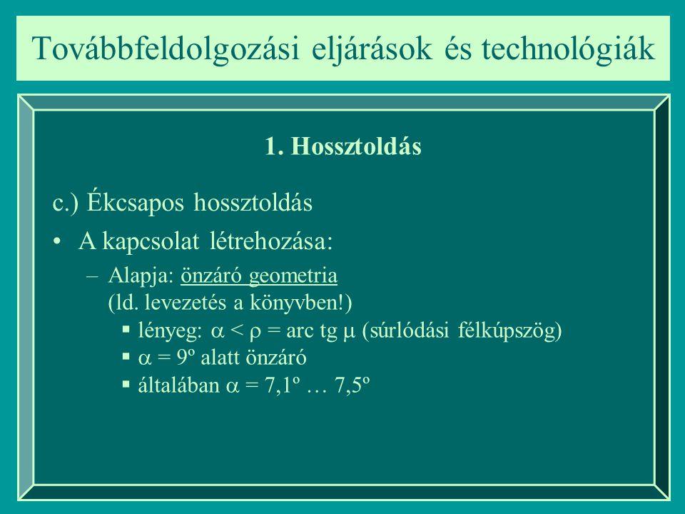Továbbfeldolgozási eljárások és technológiák 1. Hossztoldás c.) Ékcsapos hossztoldás A kapcsolat létrehozása: –Alapja: önzáró geometria (ld. levezetés