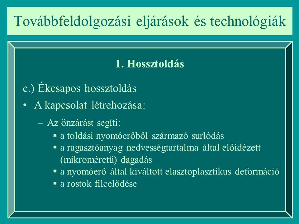 Továbbfeldolgozási eljárások és technológiák 1. Hossztoldás c.) Ékcsapos hossztoldás A kapcsolat létrehozása: –Az önzárást segíti:  a toldási nyomóer