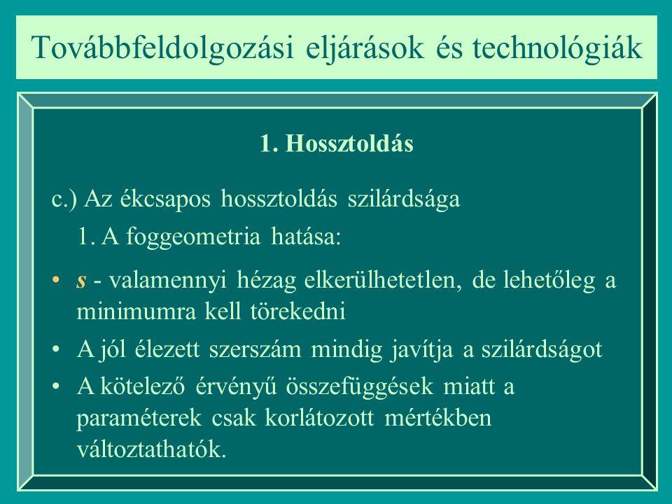 Továbbfeldolgozási eljárások és technológiák 1. Hossztoldás c.) Az ékcsapos hossztoldás szilárdsága 1. A foggeometria hatása: s - valamennyi hézag elk