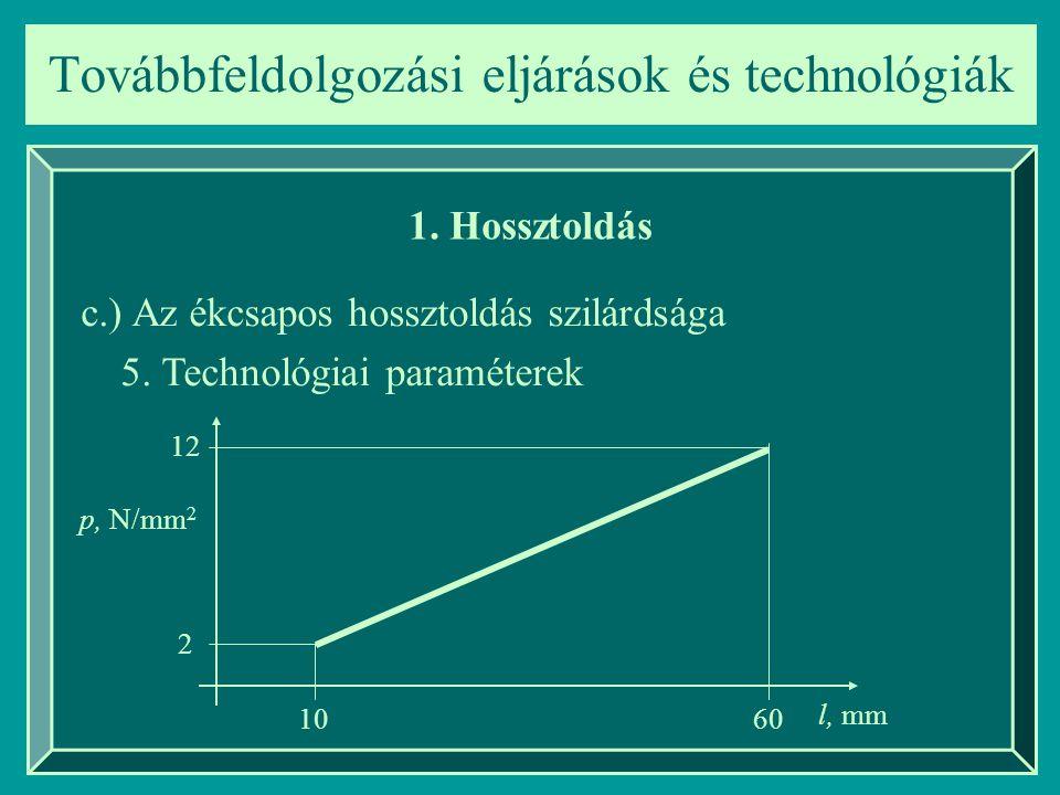 Továbbfeldolgozási eljárások és technológiák 1. Hossztoldás c.) Az ékcsapos hossztoldás szilárdsága 5. Technológiai paraméterek p, N/mm 2 l, mm 12 2 1