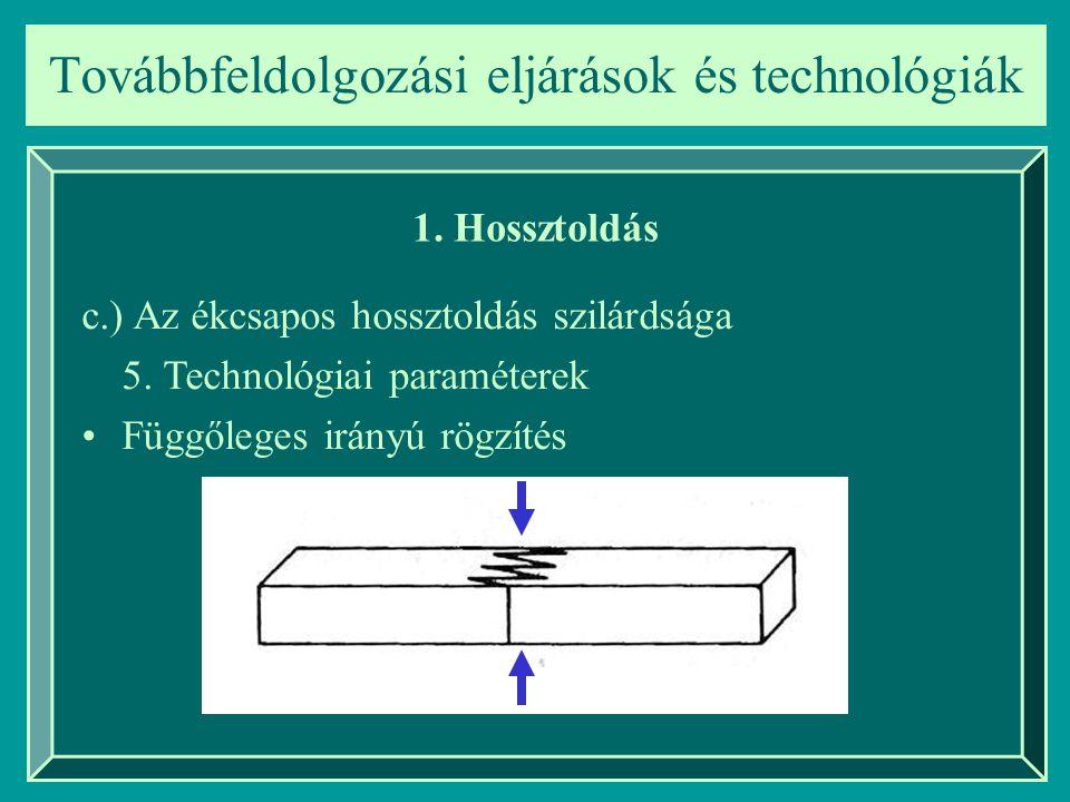 Továbbfeldolgozási eljárások és technológiák 1. Hossztoldás c.) Az ékcsapos hossztoldás szilárdsága 5. Technológiai paraméterek Függőleges irányú rögz