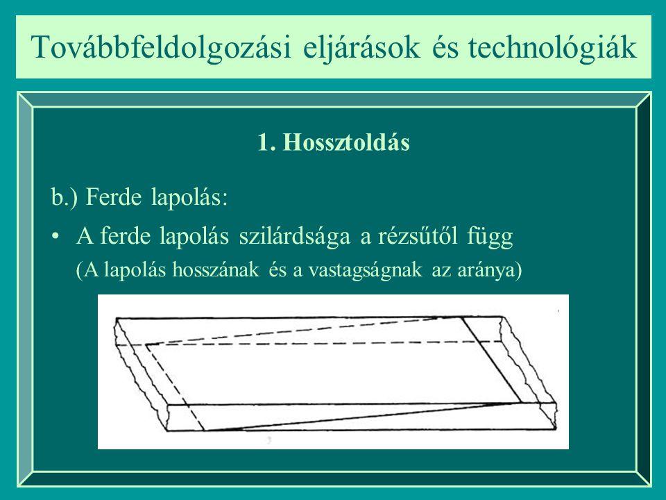 Továbbfeldolgozási eljárások és technológiák 1. Hossztoldás A ferde lapolás szilárdsága a rézsűtől függ (A lapolás hosszának és a vastagságnak az arán