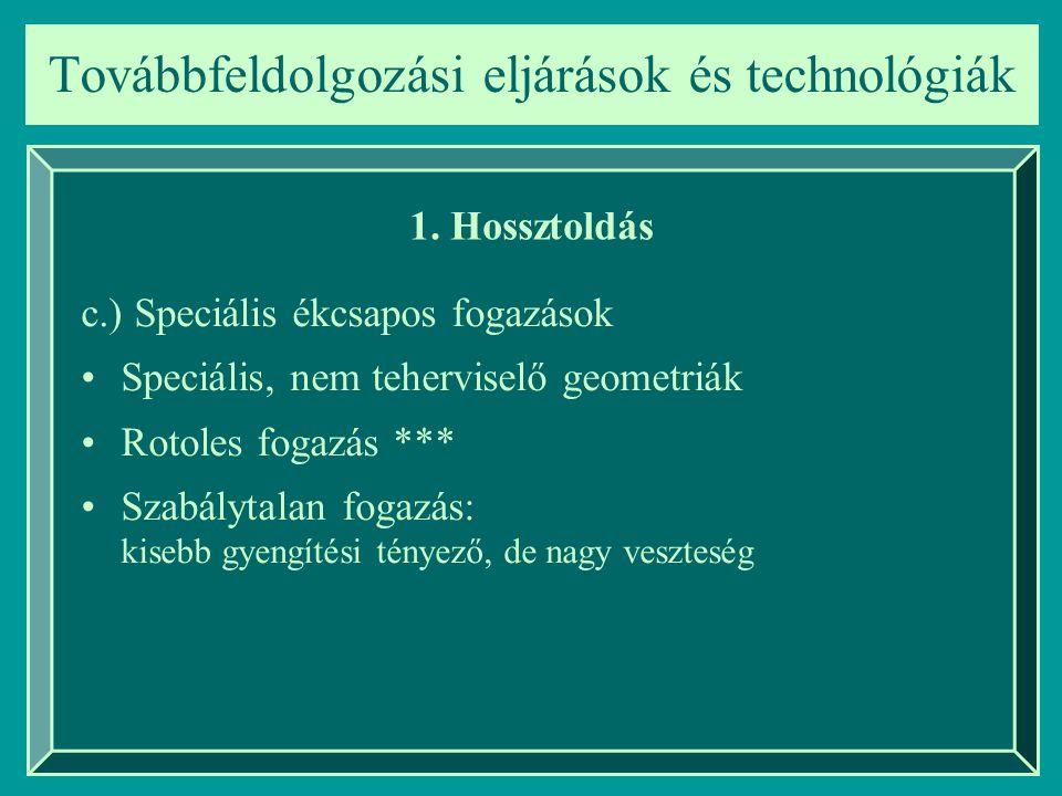 Továbbfeldolgozási eljárások és technológiák 1. Hossztoldás c.) Speciális ékcsapos fogazások Speciális, nem teherviselő geometriák Rotoles fogazás ***