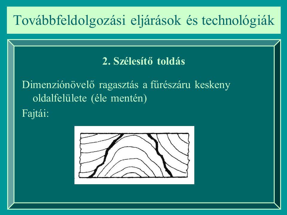 Továbbfeldolgozási eljárások és technológiák 2. Szélesítő toldás Dimenziónövelő ragasztás a fűrészáru keskeny oldalfelülete (éle mentén) Fajtái: