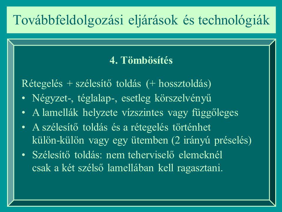 Továbbfeldolgozási eljárások és technológiák 4. Tömbösítés Rétegelés + szélesítő toldás Négyzet-, téglalap-, esetleg körszelvényű A lamellák helyzete