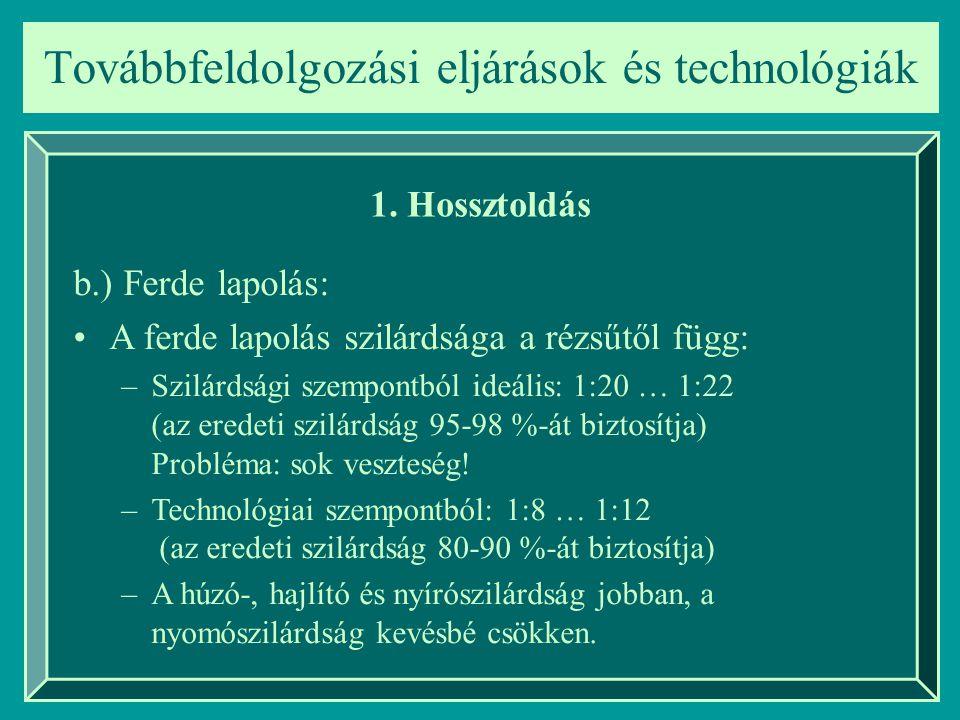 1. Hossztoldás b.) Ferde lapolás: A ferde lapolás szilárdsága a rézsűtől függ: –Szilárdsági szempontból ideális: 1:20 … 1:22 (az eredeti szilárdság 95