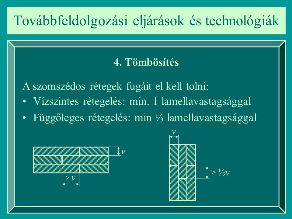 Továbbfeldolgozási eljárások és technológiák 4. Tömbösítés A szomszédos rétegek fugáit el kell tolni: Vízszintes rétegelés: min. 1 lamellavastagsággal