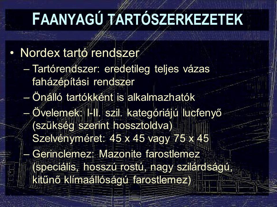 F AANYAGÚ TARTÓSZERKEZETEK Nordex tartó rendszer –Tartórendszer: eredetileg teljes vázas faházépítási rendszer –Önálló tartókként is alkalmazhatók –Öv