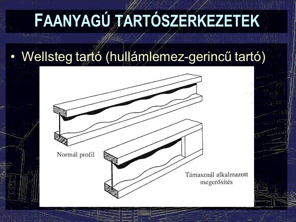 F AANYAGÚ TARTÓSZERKEZETEK Wellsteg tartó (hullámlemez-gerincű tartó)