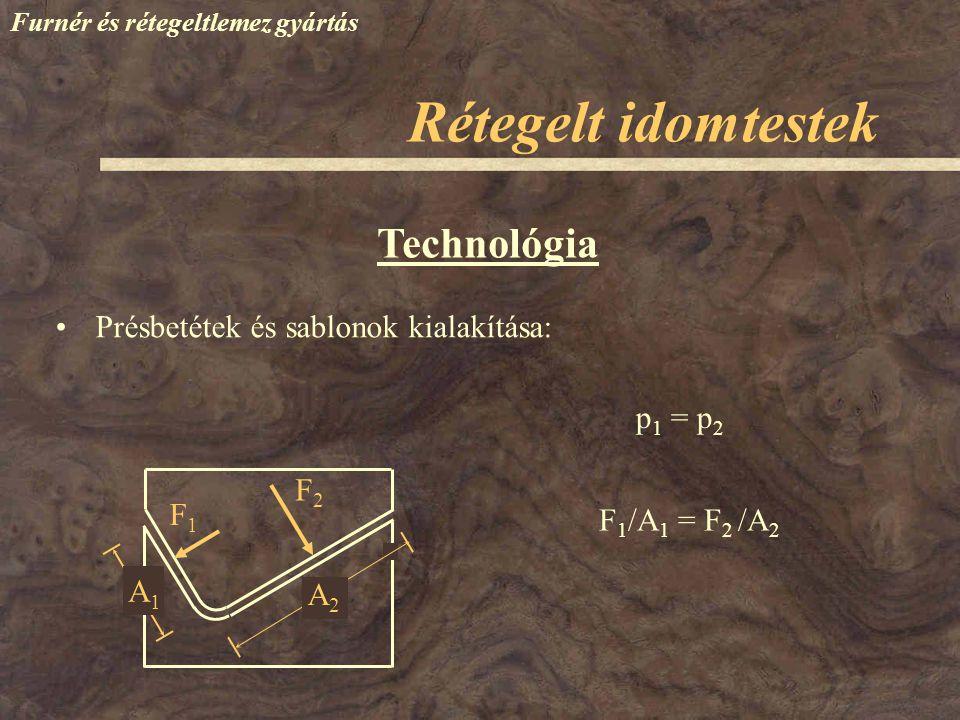 Furnér és rétegeltlemez gyártás Technológia Présbetétek és sablonok kialakítása: F1F1 F2F2 A1A1 A2A2 p 1 = p 2 F 1 /A 1 = F 2 /A 2 Rétegelt idomtestek