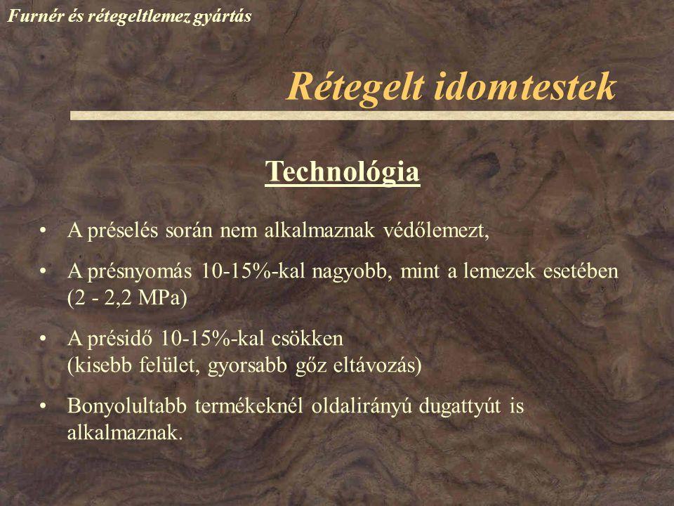 Technológia A préselés során nem alkalmaznak védőlemezt, A présnyomás 10-15%-kal nagyobb, mint a lemezek esetében (2 - 2,2 MPa) A présidő 10-15%-kal c