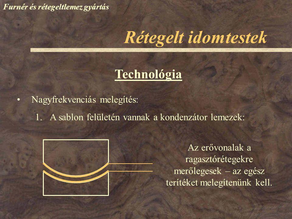 Furnér és rétegeltlemez gyártás Technológia Nagyfrekvenciás melegítés: 1.A sablon felületén vannak a kondenzátor lemezek: Rétegelt idomtestek Az erővo