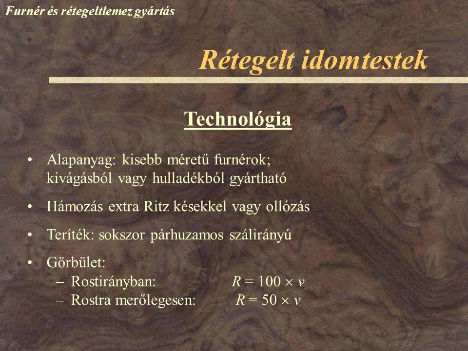 Furnér és rétegeltlemez gyártás Technológia Alapanyag: kisebb méretű furnérok; kivágásból vagy hulladékból gyártható Hámozás extra Ritz késekkel vagy