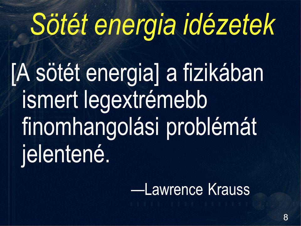8 Sötét energia idézetek [A sötét energia] a fizikában ismert legextrémebb finomhangolási problémát jelentené. —Lawrence Krauss