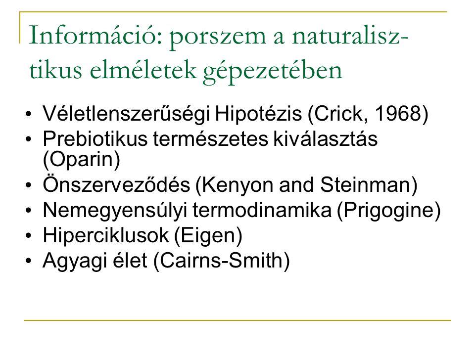 Információ: porszem a naturalisz- tikus elméletek gépezetében Véletlenszerűségi Hipotézis (Crick, 1968) Prebiotikus természetes kiválasztás (Oparin) Önszerveződés (Kenyon and Steinman) Nemegyensúlyi termodinamika (Prigogine) Hiperciklusok (Eigen) Agyagi élet (Cairns-Smith)