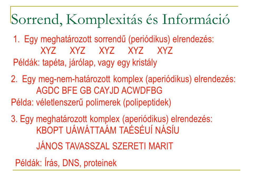 Sorrend, Komplexitás és Információ 1.