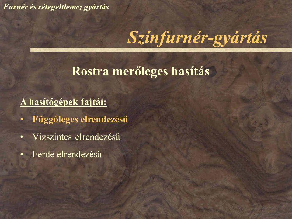 Színfurnér-gyártás Furnér és rétegeltlemez gyártás A hasítógépek fajtái: Függőleges elrendezésű Vízszintes elrendezésű Ferde elrendezésű Rostra merőle