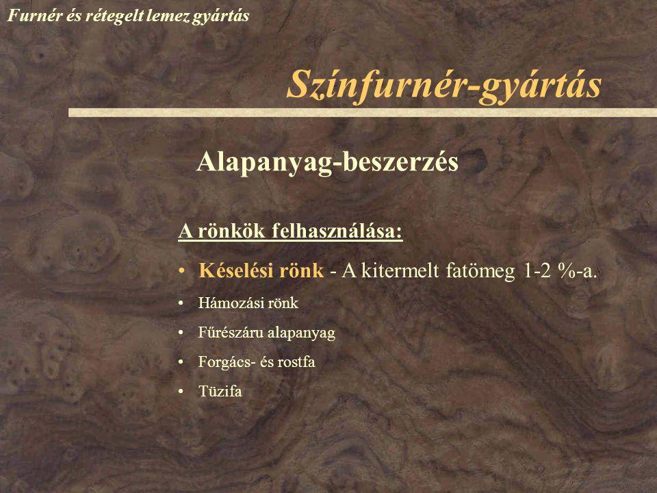 Színfurnér-gyártás Furnér és rétegelt lemez gyártás A rönkök felhasználása: Késelési rönk - A kitermelt fatömeg 1-2 %-a. Hámozási rönk Fűrészáru alapa