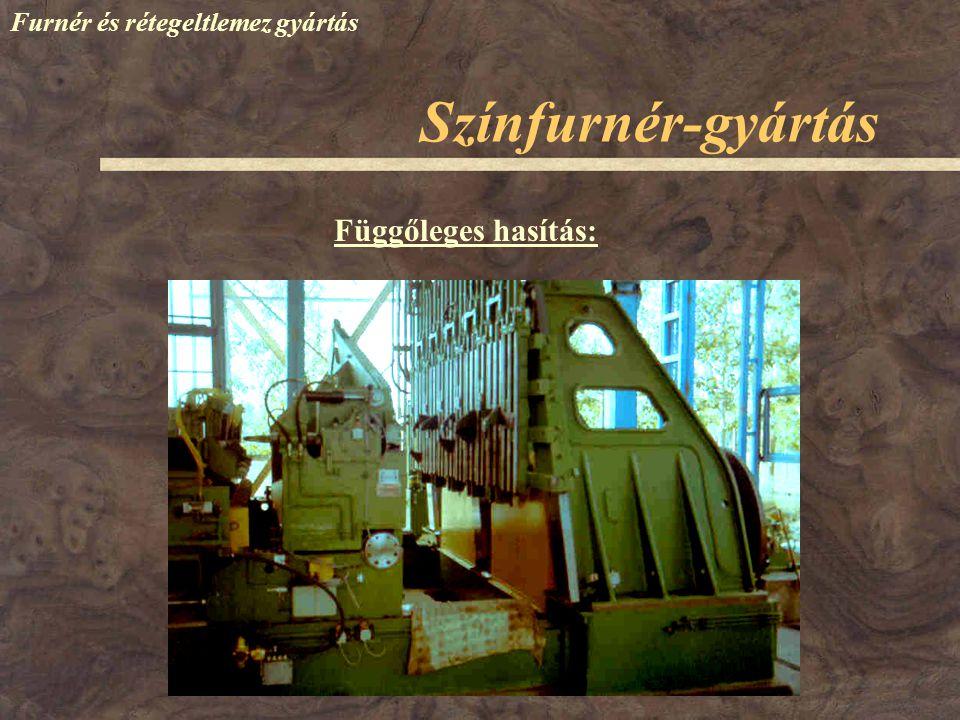 Színfurnér-gyártás Furnér és rétegeltlemez gyártás Függőleges hasítás: