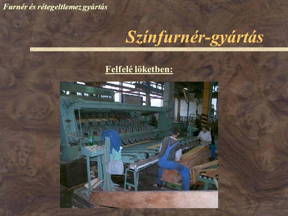 Színfurnér-gyártás Furnér és rétegeltlemez gyártás Felfelé löketben: