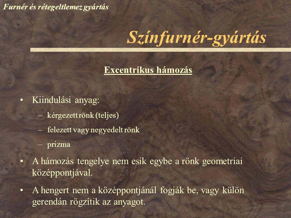 Színfurnér-gyártás Furnér és rétegeltlemez gyártás Excentrikus hámozás Kiindulási anyag: –kérgezett rönk (teljes) –felezett vagy negyedelt rönk –prizm