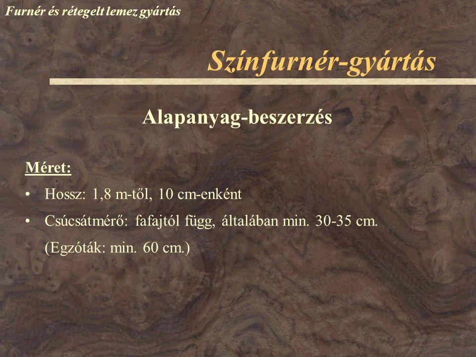 Színfurnér-gyártás Furnér és rétegelt lemez gyártás Méret: Alapanyag-beszerzés Hossz: 1,8 m-től, 10 cm-enként Csúcsátmérő: fafajtól függ, általában mi